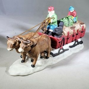 DEPT 56 Christmas Tree Red Wagon Sled with Oxen